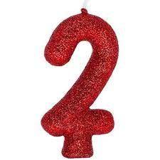 Vela Numeral Cintilante - vermelha - Nº 2
