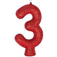 Vela Numeral Cintilante - vermelha - Nº 3
