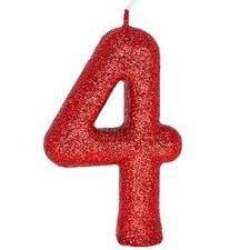 Vela Numeral Cintilante - vermelha - Nº 4
