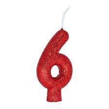 Vela Numeral Cintilante - vermelha - Nº 6