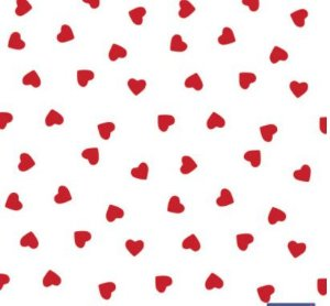 Tnt Estampado - Coração Vermelho - 1 metro