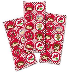 Adesivo Redondo - Chapeuzinho vermelho - 30 adesivos