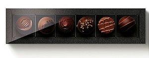 Caixa retangular para 6 doces - Preta