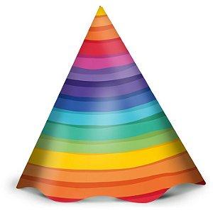 Chapéu de Aniversário - Arco-Íris - 12 unidades