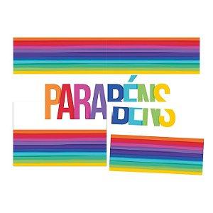 Painel Decorativo - Arco-Íris - Parabéns