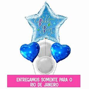 Bouquet balão Metalizado Inflado com gás hélio - 91 cm - Baby Boy