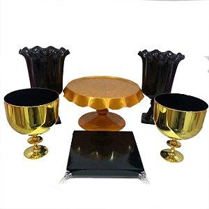 Kit Boleira- Preta e Dourada - 6 unidades