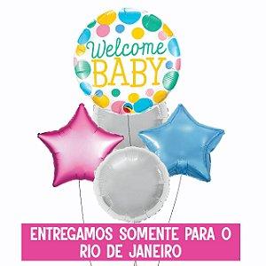 Bouquet Bubble e Balão Metalizado Inflado com gás hélio - Welcome Baby