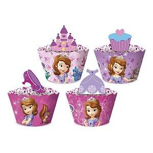 Cupcake wrapper com enfeites - Princesinha Sofia