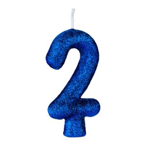 Vela Numeral Cintilante - Azul - Nº 2