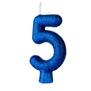 Vela Numeral Cintilante - Azul - Nº 5