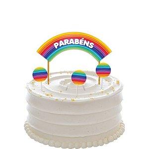 Decoração para bolo - Arco-Íris