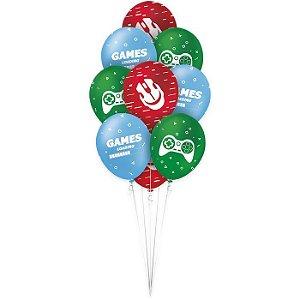 Balão Látex - 9 Polegadas - Games - 25 Un.