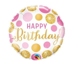 Balão Metalizado - Birthday - Pontos Rosas e Ouros