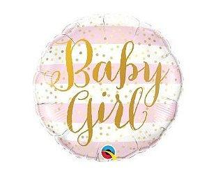 Balão Metalizado - Baby Girl - Rosa