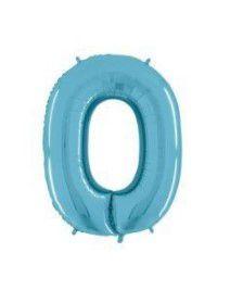 Balão Metalizado 70cm - Azul Claro - Número 0
