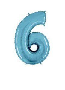 Balão Metalizado 70cm - Azul Claro - Número 6