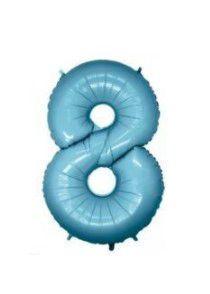 Balão Metalizado 70cm - Azul Claro - Número 8