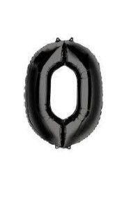 Balão Metalizado 70cm - Preto - Número 0