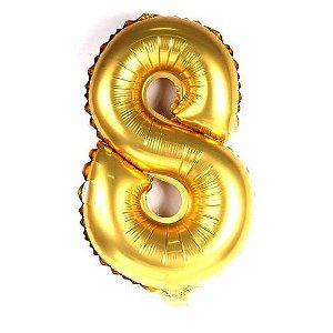 Balão Metalizado 70cm - Dourado - Número 8