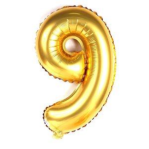Balão Metalizado 70cm - Dourado - Número 9