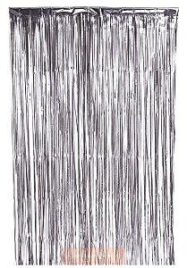 Cortina Metalizada para Festa - Prata - 1 x 1,20