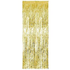 Cortina Metalizada para Festa - dourada - 1 x 1,20