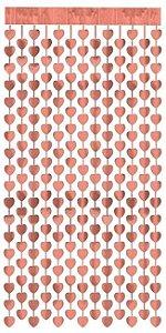 Cortina Metalizada para Festa - rose gold coração - 1 x 1,20