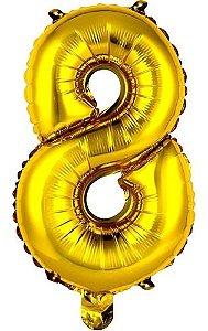Balão Metalizado 100cm - Dourado - Número 8