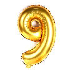 Balão Metalizado 100cm - Dourado - Número 9