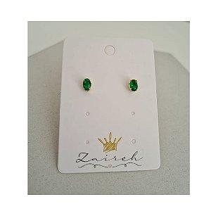 Brinco Redondo Zirconia Verde Esmeralda Banhado Em Ouro 18K