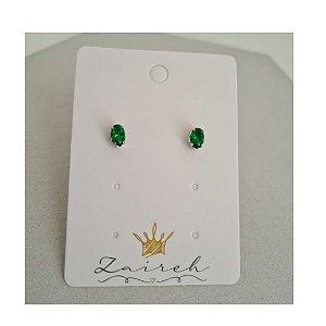 Brinco Redondo Zirconia Verde Esmeralda Banhado Em Ródio Branco