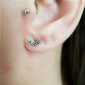 Brinco Ear Cuff De Prata Flores
