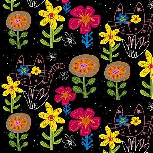 Tecido  -  GAtos Floridos