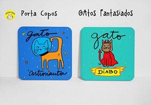 Conjunto de Porta  Copos Gatos Fantasiados