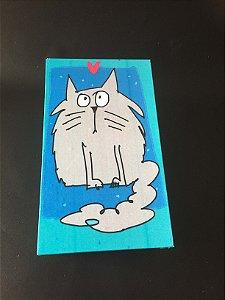 Caixa Retangular  Pequena Gato Cinza