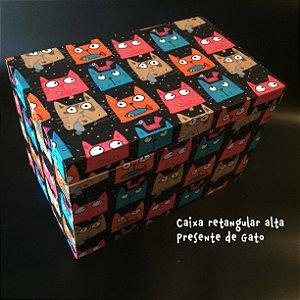 Caixa Retangular Alta com encaixe - Presente de Gato