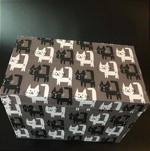 Caixa Retangular Alta com encaixe - Gatinhos no cinza