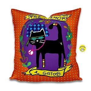Capa de Almofada Paz, amor e gatos