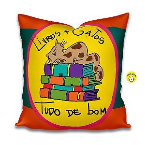 Capa de Almofada Gatos e Livros