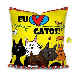 Capa de Almofada Eu amo Gatos