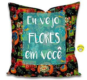 Capa de Almofada Vejo flores em você- preto
