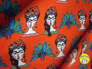 Tecido  -  Frida fundo vermelho