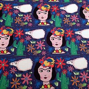 Tecido  - Frida e ovelhas