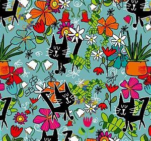 Tecido -  Gato preto e flores fundo azul