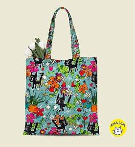 Book Bag Gatos Pretos e flores