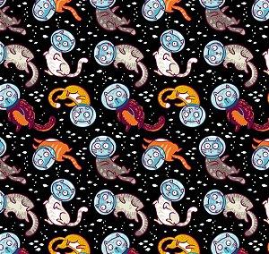 Tecido  - Gatinhos Espaciais fundo preto