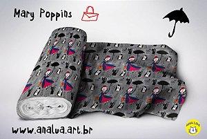 Tecido -  Mary Poppins fundo cinza
