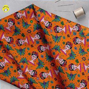 Tecido  -Frida com Pavões mix laranja