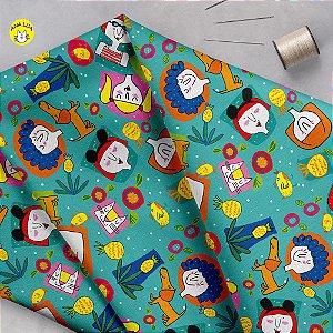 Tecido  -  Meninas e abacaxis fundo azul